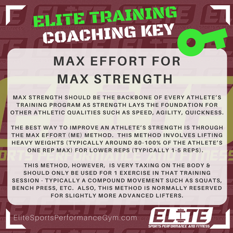 Elite Coaching 🔑  TRAINING TIP: Max Effort for Max Strength