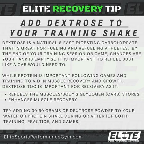 Elite Coaching 🔑  RECOVERY TIP: ADD DEXTROSE TO YOUR TRAINING SHAKE