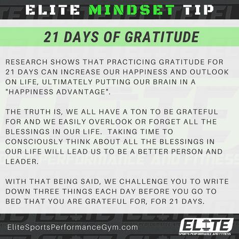 Elite Coaching 🔑  MINDSET TIP: 21 Days of Gratitude