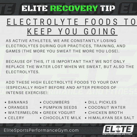Elite Coaching 🔑  RECOVERY TIP: ELECTROLYTE FOODS TO KEEP YOU GOING