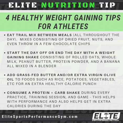 Elite Coaching 🔑  NUTRITION TIP: 4 Healthy Weight Gaining Tips for Athletes