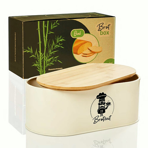 Brotbox mit passendem Deckel aus Bambus im Retro-Look