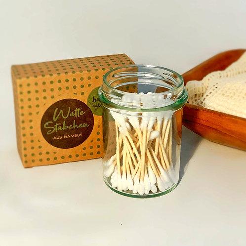 Plastikfreie Wattestäbchen aus Bio-Baumwolle und Bambus, 200Stk.