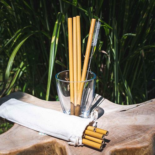 12 Wiederverwendbare Strohhalme aus 100% Bambus inkl. Reinigungsbürste