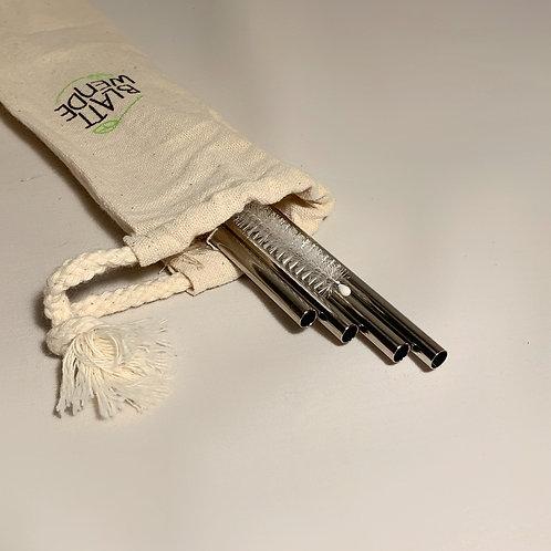 4 Edelstahl Strohhalme aus Edelstahl inkl. Reinigungsbürste