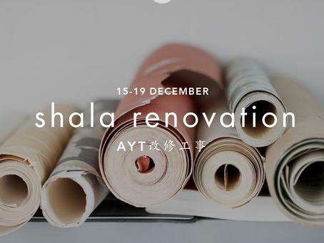 Shala Renovation ※ 12/15~12/19 改修工事
