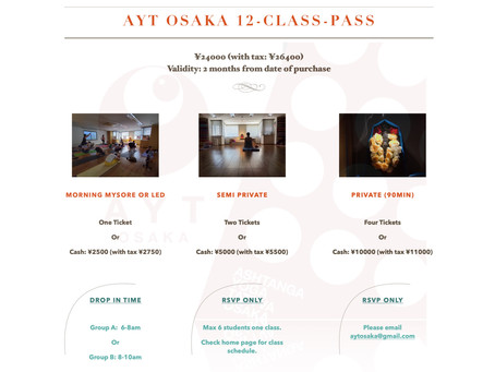 New! AYT Osaka 12-Class-Pass