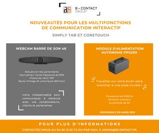 Nouveauté pour les multifonctions de communication interactif : Simply Tab et Coretouch