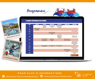 Programme championnats du monde de raft et handiraft 2021