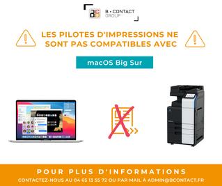 Compatibilité des pilotes d'impressions avec MacOS Big Sur