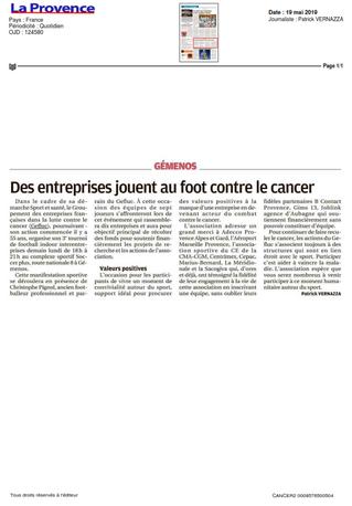 La Provence - Gefluc : Des entreprises jouent au foot contre le cancer