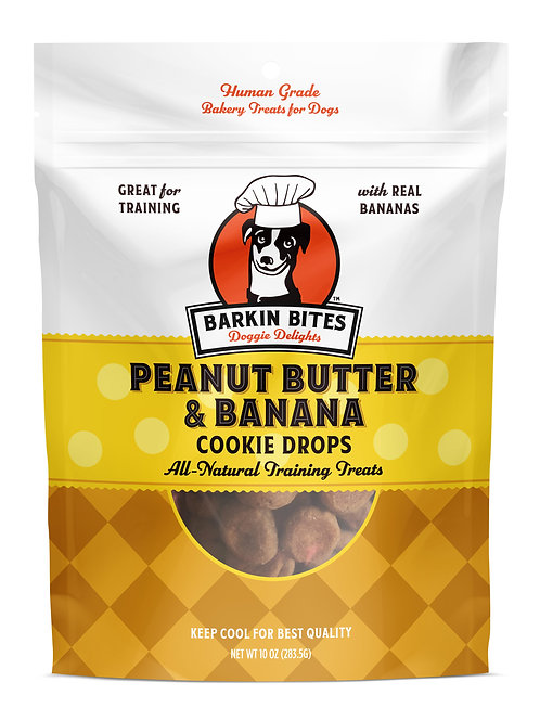 Peanut Butter & Banana Cookie Drops - Training Treats | All Dog Treats
