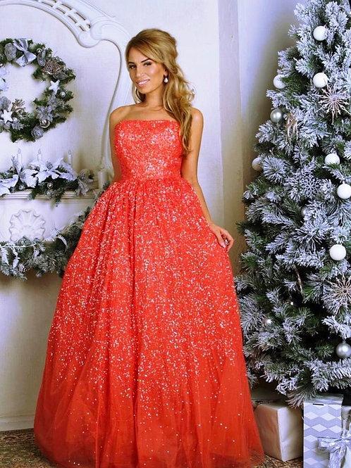 Вечернее пышное в пайетках платье бюстье Barbara Schwarzer