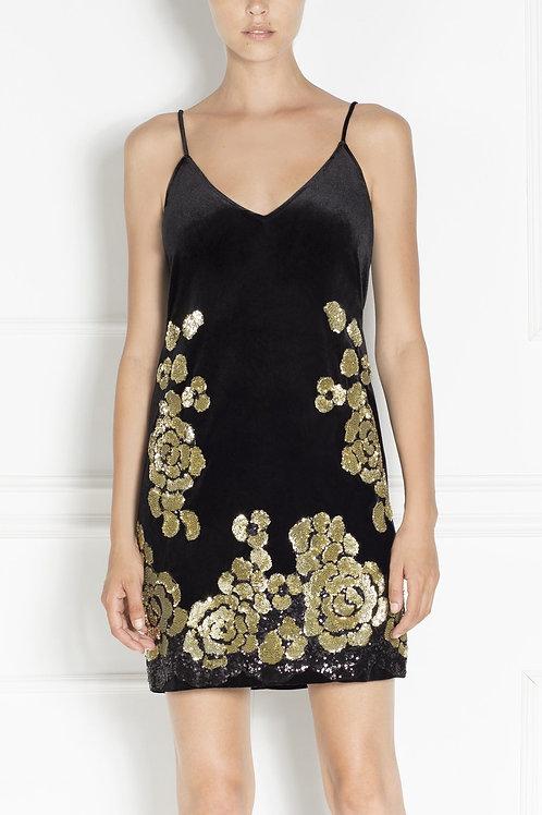 Коктейльное бархатное платье с золотой вышивкой