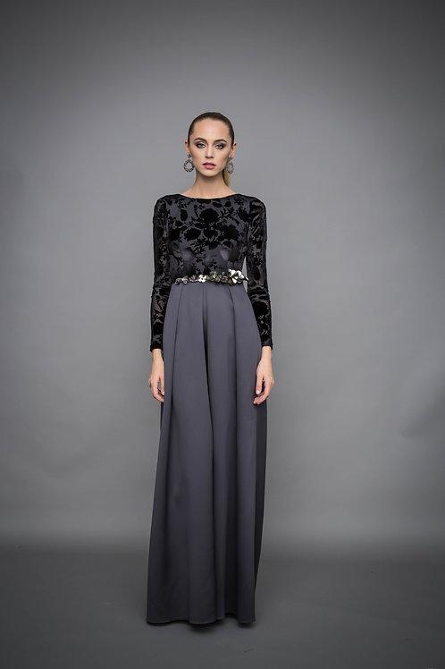 Вечернее платье с расшитым поясом