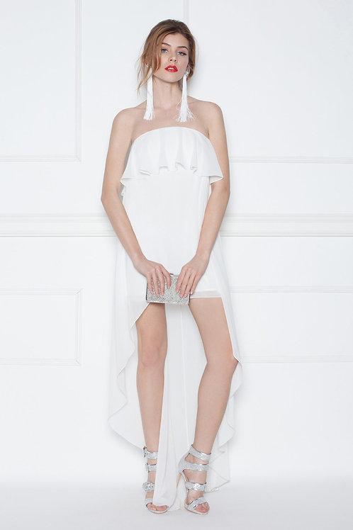 Коктейльное белое платье бюстье