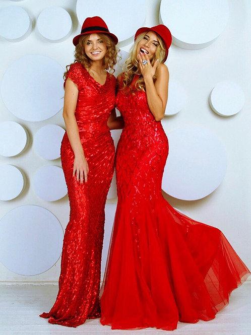 Вечернее красное платье в пайетках Barbara Schwarzer