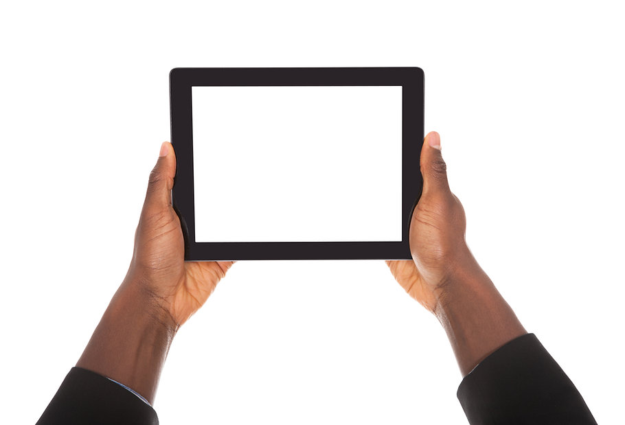 Business Man Holding Digital Tablet On W