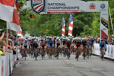 Group of cyclists at start line of the Amateur Road National Championships