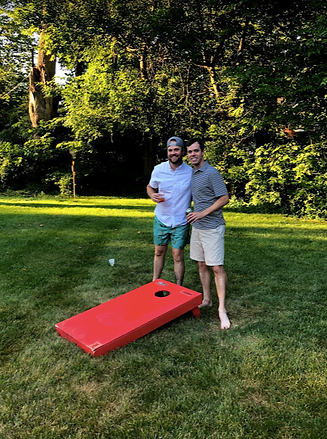 Cornhole game at pool party