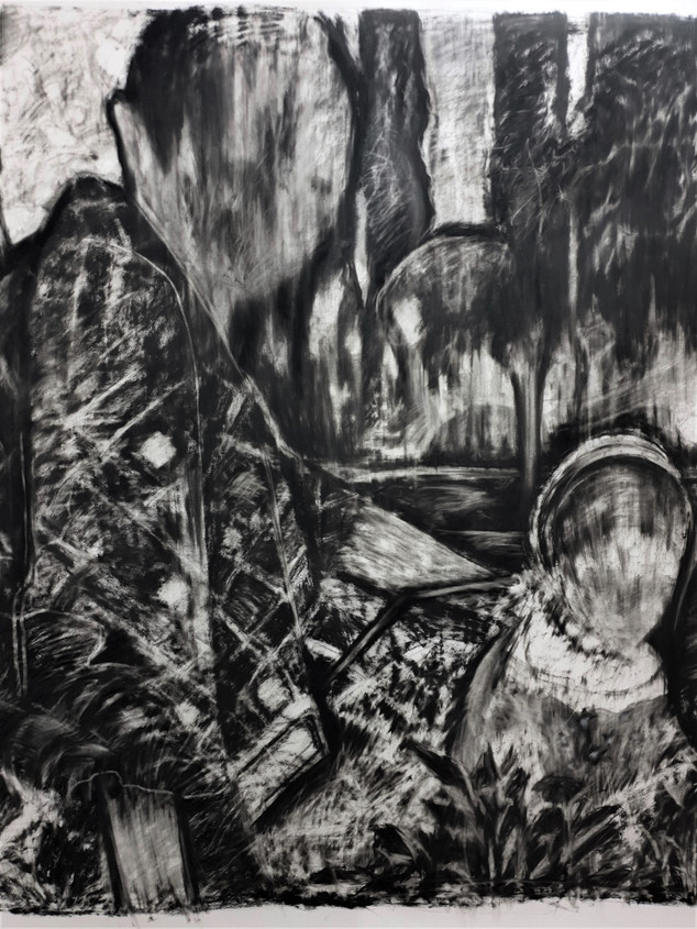 drawing, charcoal on paper (detail)