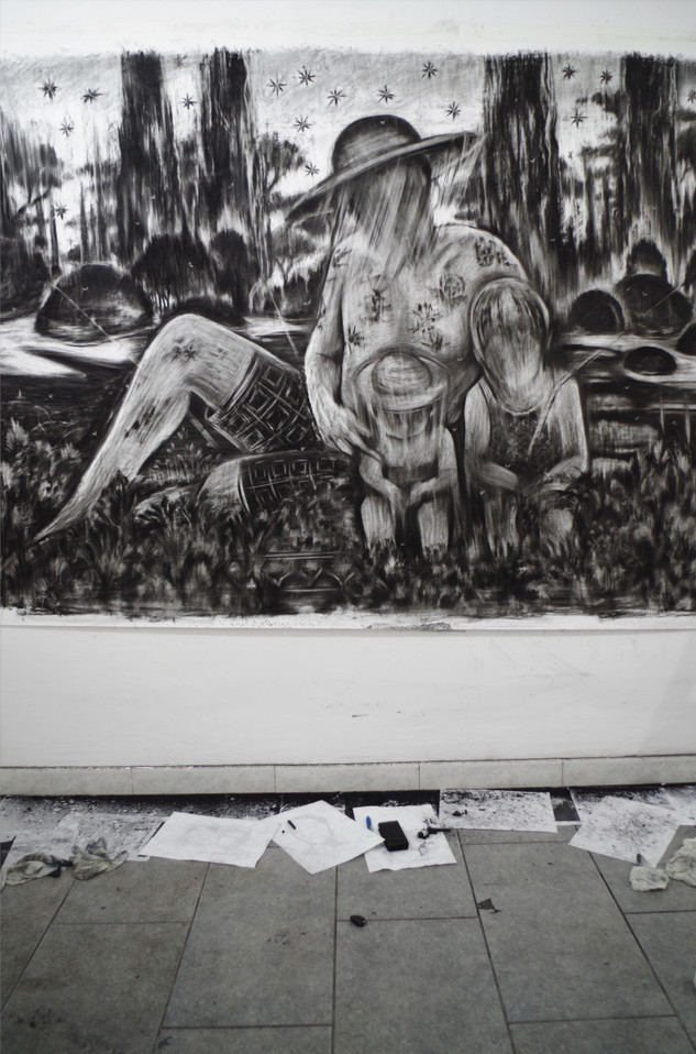 Drawing, charcoal on paper, cca. 210x150 cm
