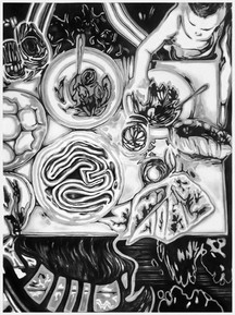 drawing, charcoal on paper, cca.150x200 cm