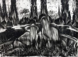 drawing, charcoal on paper, cca. 200x150 cm