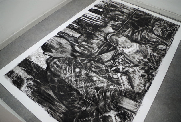 Drawing, work in progress, charcoal on paper, cca. 200x150 cm