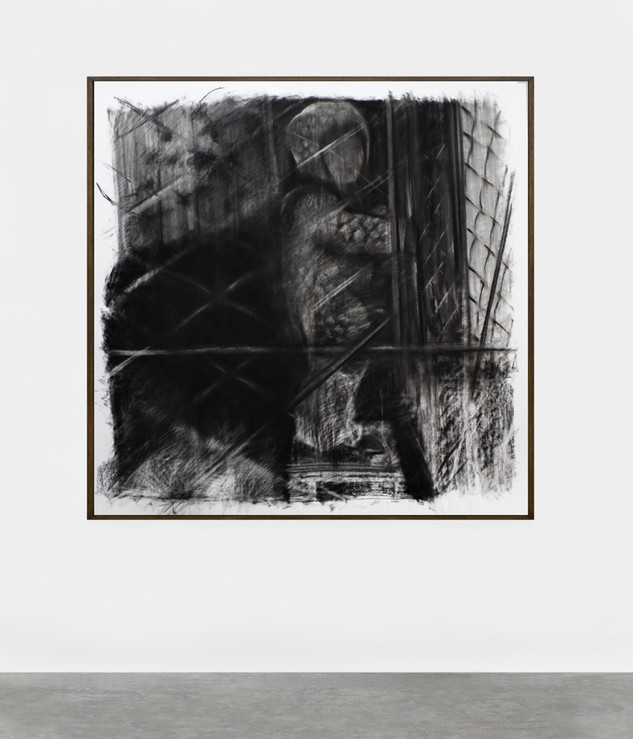 drawing, charcoal on paper, 150x150 cm