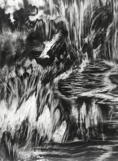 Drawing (detail), charcoal on paper