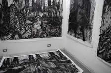 art studio... drawings, charcoal on paper.