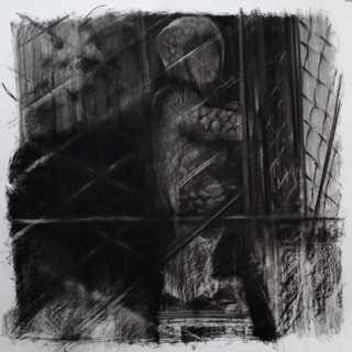 Drawing, charcoal on paper, cca. 15x150 cm