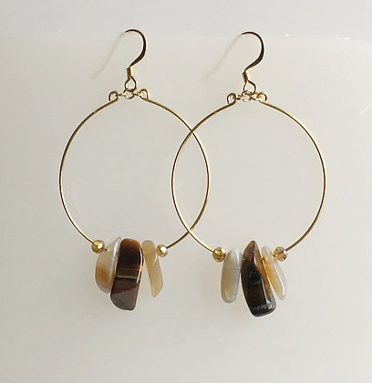Semiprecious Drop Hoop Earring