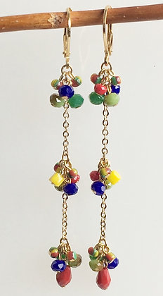Multi Color Seed Bead Cluster Linear earring