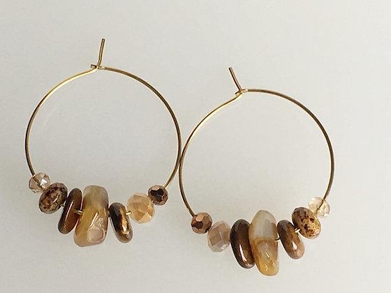 Semiprecious Cluster Hoop Earring