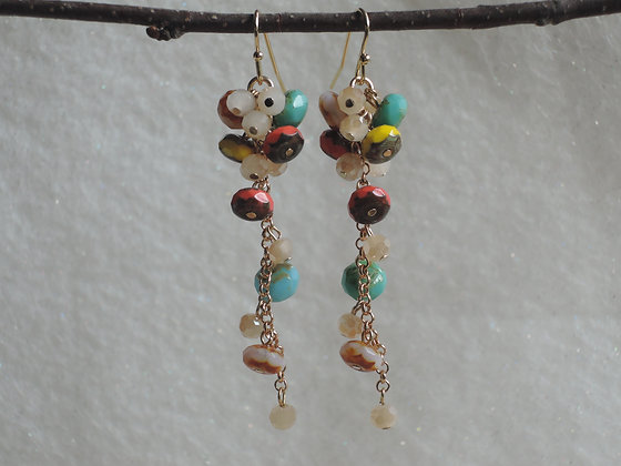 Multi Bright Beaded Cluster Earring