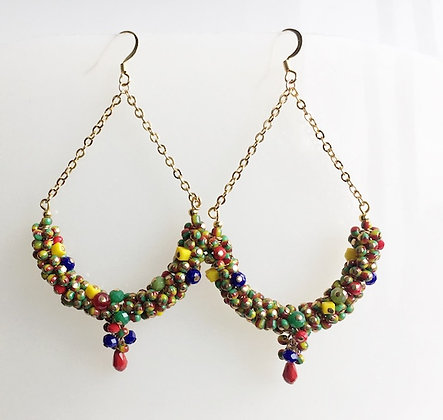 Multi Color Beads Cluster Earring