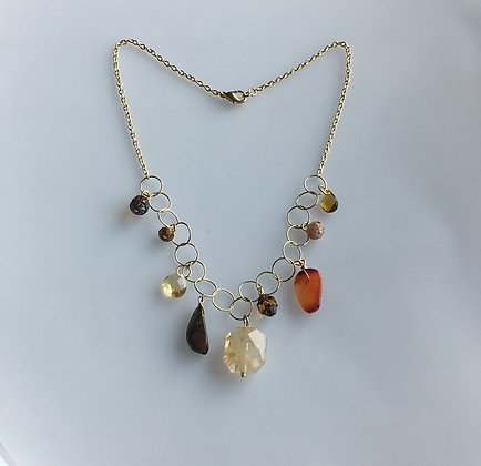 Semiprecious and Glass Charm necklaces