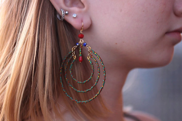 Multi Color  Hoop Earring
