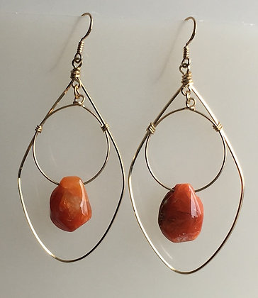 Semiprecious Nugget Drop Gold Filled Hoop Earring