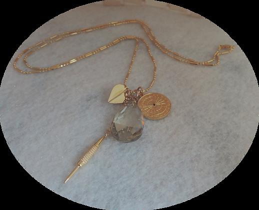 Gold Plated 30'' Multi Charm Dart Pendant.