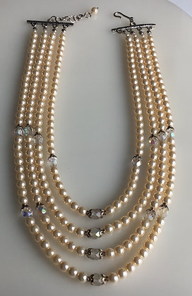 Multi Raw Glass Cultural Pearl Bridal Necklace