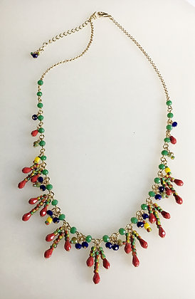 Beaded Cluster Drop Necklace