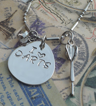 Hand Stamped I Love Darts 16'' Charm Necklace