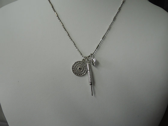 Rhodium Plated 30'' Mini Dart Board, Dart and Dart Flight Charm Drop Necklace