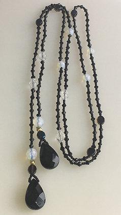 Wrap Around Beaded Jet Glass Necklace
