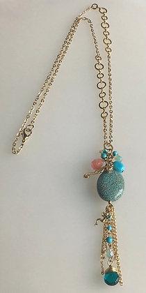 Aqua Tassel Pendant Necklace