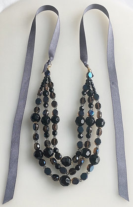 Ribbon Tie Back Beaded Multi Raw Jet Glass Necklace
