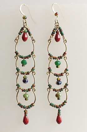 Ladder Multi Color Beaded Earring